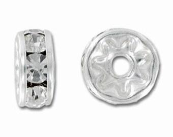 Swarovski Rondelle 6mm Crystal/Silver - Pack 4