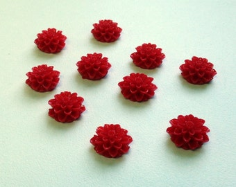 14mm Resin Flower Cabochon - dahlia mum- Red - QTY 10