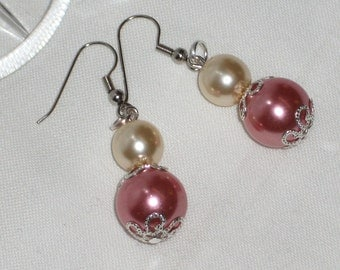 Pink pendant earrings waxed glass pearls are pink and white. Hand Made in Italy! ready to ship!