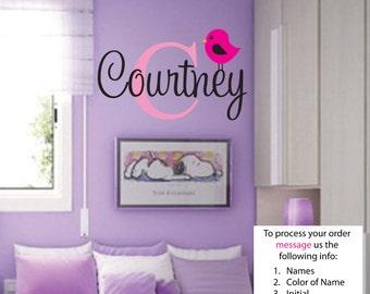 Courtney Name Wall Decal - Nursery Wall Decal - Teen Name Wall Decals - Personalized Wall Decals