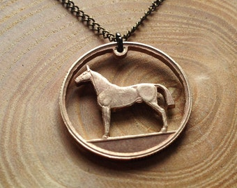 "Handcut Irish coin ""Horse"" necklace"