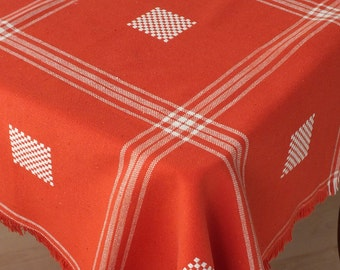Vintage tablecloth, Table runner, Red tablecloth, Coffee table decor, Hand woven, Rustic red, Housewarming Gift
