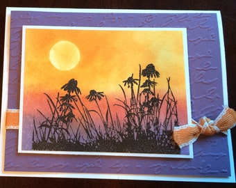 Flowers at Sunset card