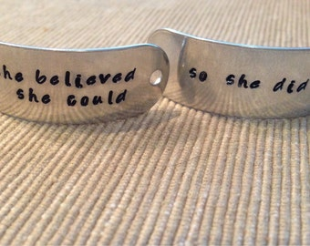 Hand stamped shoe tags - she believed she could so she did