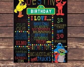 Sesame Street Printable Birthday Chalkboard