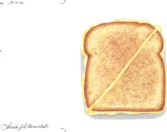 Grilled Cheese Sandwich, photo realistic, art, illustration, drawing, print on archival cover stock, colored pencils, bread with cheese.