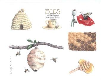 Bees Beehive Honey Dipper Poppy With Bee Skep