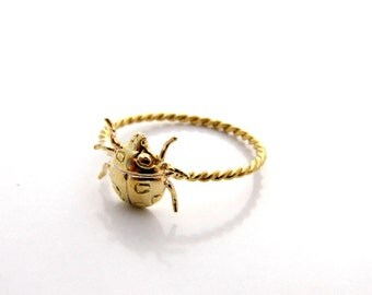 Thin gold ring -14K GOLD Filled ladybird Ring stacking ring dainty ring delicate ring insect ring gift for her