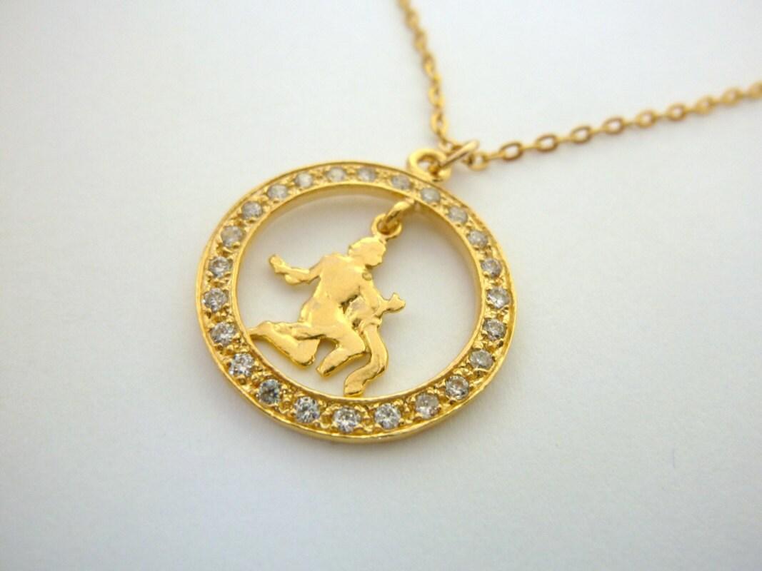 aquarius necklace personalized zodiac necklace gold fill 14k
