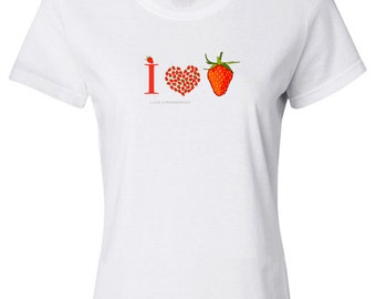 I Love Strawberries Women's T-shirt, 100% Cotton, FREE SHIPPING