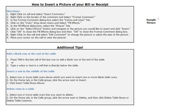 tax write off spreadsheet template