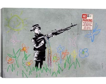Boy with Gun By Banksy Canvas Print | Gallery Framed | 20% off SALE at Checkout Use Coupon Code: FEB20A