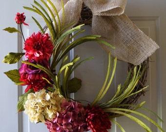 Door Wreath, Front Door Wreath, Mums Chrysanthemum Hydrangea Wreath with Burlap Bow