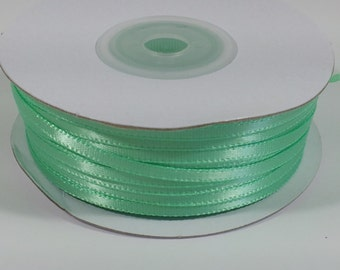 "1/8"" Mint Double Face Satin Ribbon - 100 Yards"