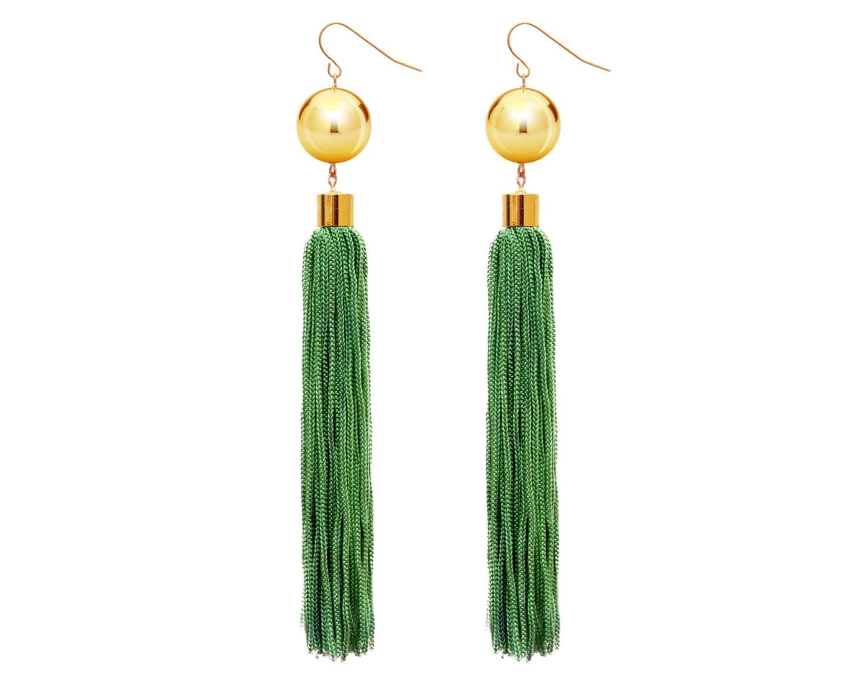 green statement earrings tassel earrings fringe earrings