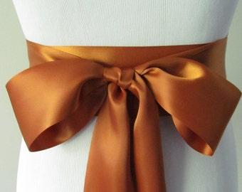 Copper Ribbon Sash / Double Faced Ribbon Sash / Bridal Sash / Bridal Ribbon / Copper