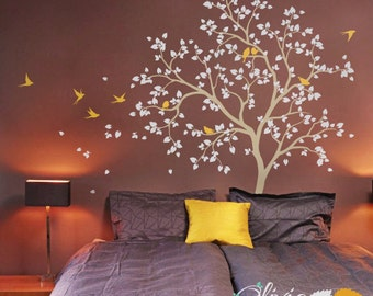 Baby nursery Tree vinyl wall decal  with birds stickers -NT014