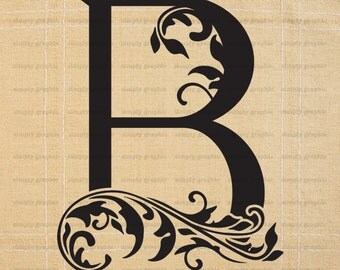 Large initial letter b wall decor letter stencil for Large monogram letter stencil
