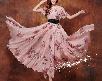 60 Colors Chiffon Rose Flower Long Party Dress Evening Wedding Lightweight Sundress Summer Holiday Beach Dress Bridesmaid Dress Maxi Skirt