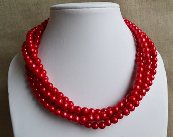 red pearl necklace,4-rows pearl necklaces,wedding necklace,bridesmaids necklace,glass pearls necklaces,red pearl necklace,necklace,wedding