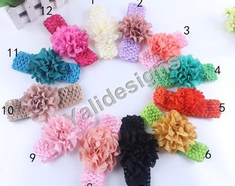 U Pick Wholesales Hollow Chiffon Flower Headband Baby Headbands. Crochet Soft Newborns Headbands. Girl's Headband YTH34