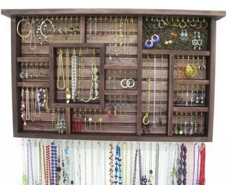 Hanging Jewelry Display with ring storage and bangle bar