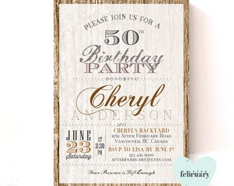 Adult Birthday Invitation - Any Ages - Rustic Wood Birch Backyard Birthday - Printable No.170