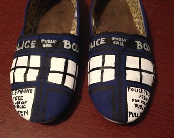 Doctor Who TARDIS Hand Painted Canvas Shoes