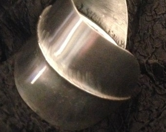 Pewter bracelet cuff one fold hammered