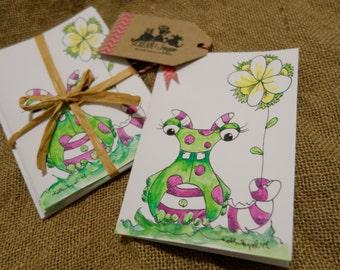 Free Shipping-Monster Thank You Card Pack-Handmade-5 Cards/5 Envelopes-Pink-Green-Polka-Dots