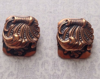 Vintage copper Whiting & Davis co. Clip earrings