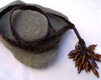 Long necklace, waxed braided cotton, pendent made with iridescent glass beads