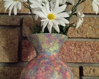 Glass vase, Neon hand painted/sponge painted vase 1