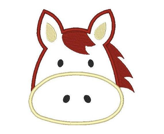 Horse face applique machine embroidery design