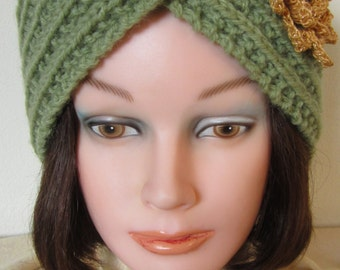 Turban Twist fashionable hat hand made for that smart office look or on company travel - Pale olive green gold glitter flower & ctr. button