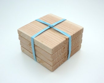Chunky Wooden Rustic Coasters. Set of 4. Natural Pine