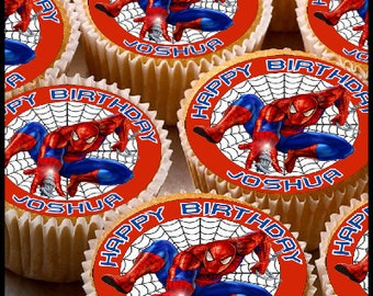 24 x Personalised Spiderman Cup Cake Toppers with Any Name Happy Birthday