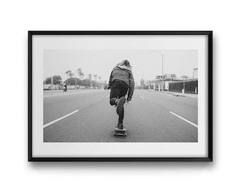 Coastal Push ~ Skate Photography, Skateboarding, Skateboard, California, Summer, Beach, Wall Art, Living Room, Bedroom, Monochrome