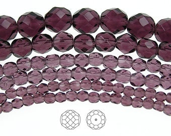 4mm (102pcs) Amethyst, Czech Fire Polished Round Faceted Glass Beads, 16 inch strand