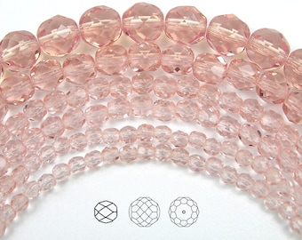 4mm (102pcs) Rosaline, Czech Fire Polished Round Faceted Glass Beads, 16 inch strand
