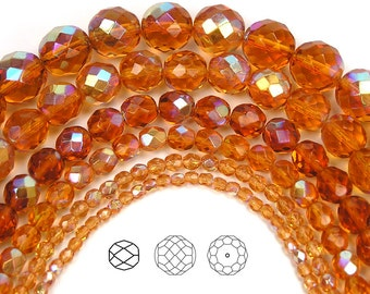 12mm (34pcs) Topaz AB coated, Czech Fire Polished Round Faceted Glass Beads, 16 inch strand