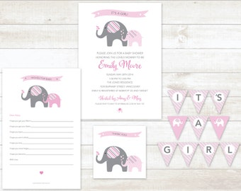 pink elephant baby girl shower invitation 4pc party pack baby girl shower party set baby girl shower games baby girl shower invite
