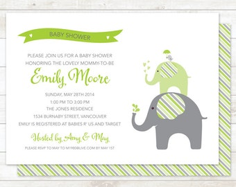 elephant gender neutral baby shower invitation printable digital elephant stripes invite green shower invite customizable personalized