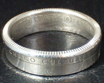 2012 Chaco Culture National Historical Park Quarter (New Mexico) Handcrafted Coin Ring  Silver Plated (Clad Coin)