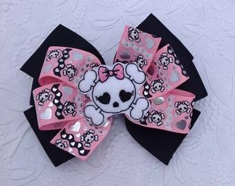 Double Pinwheel Bow, Pinwheel Bow, Skull Bow,Skull Hair Bow, Black and Pink Bow