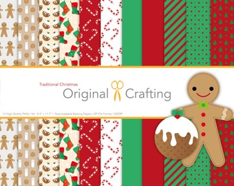 12 TRADITIONAL Christmas Papers [Digital Download]