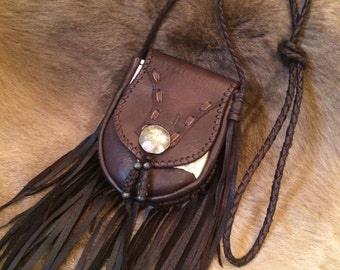 Deer Leather fringe pouch! brown white mix