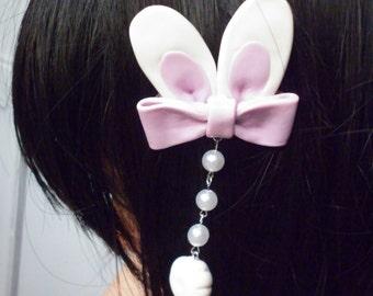 Sweet lolita bunny ear clip