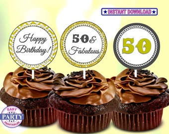 SALE 50th Birthday Cupcake Toppers, Gold and Gray, Party cupcake toppers, Instant Download, Adult Birthday, printables, 50th party decor