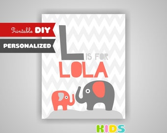 Personalized nursery art, monogram, baby name print, elephant, coral and grey nursery. ( stcg )